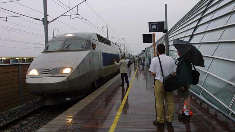 (Un TGV est bloqué sur une voie entre Montpellier et Nîmes, en raison de fortes intempéries (photo d'illustration) © MAXPPP)