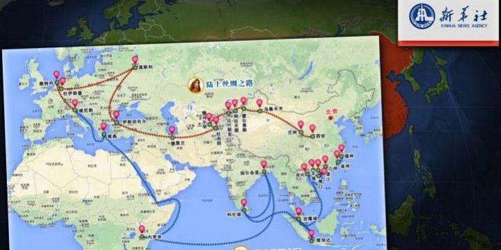 Une boucle maritime et ferroviaire reliant trois continents : Europe, Asie et Afrique.Carte de la «Ceinture et route»publiée par l'agence chinoise Xinhua She en 2014.@ Arte / Le dessous des cartes (Capture d'écran / Arte)