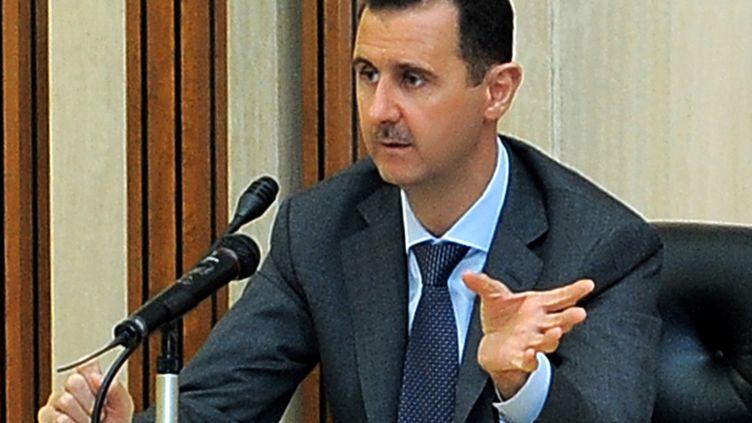 Bachar Al-Assad, le président syrien, le 17 août 2011, à Damas (Syrie). (SANA / AFP)