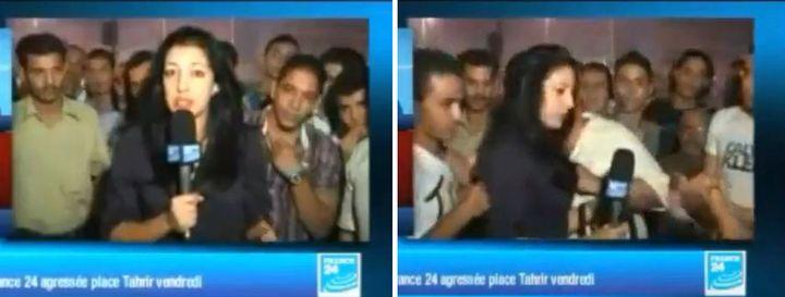 Un montage montre la journaliste de France 24 Sonia Dridi, juste avant son agression sexuelle place Tahrir au Caire (Egypte), le 19 octobre 2012. (FRANCE 24 / AFP)