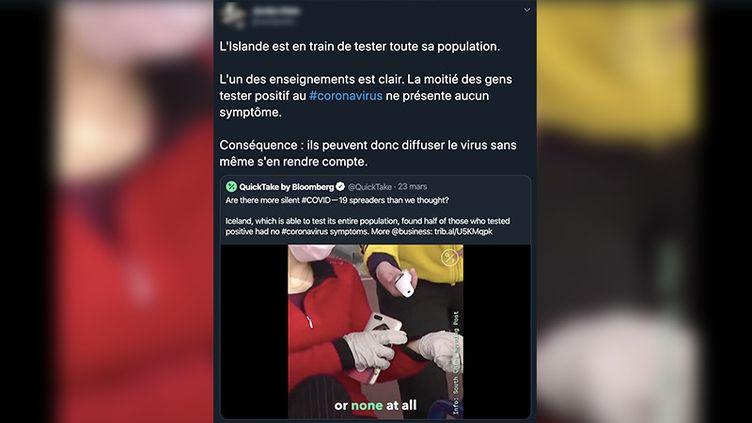 Capture d'écran d'un tweet déclarant quel'Islande est en train de tester l'ensemble de sa population au coronavirus. (CAPTURE ECRAN)