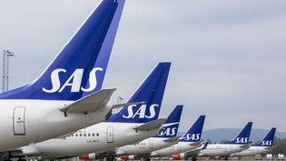 Des avions de la compagnie aérienne SAS à l'aéroport de Gardermoen (Norvège). (OLE BERG-RUSTEN / NTB SCANPIX via AFP)