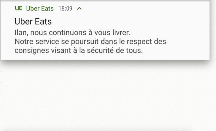 Capture d'écran d'une notification envoyée par Uber Eats et reçue le 17 mars 2020. ((ILAN CARO / FRANCEINFO))