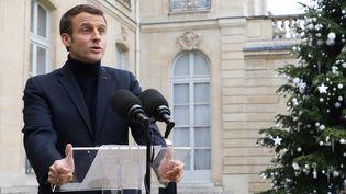 Emmanuel Macron s'exprime depuis l'Elysée (Paris), le 10 décembre 2019. (LUDOVIC MARIN / AFP)