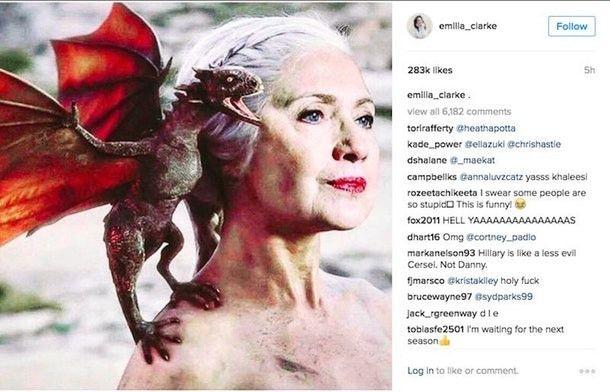 Capture d'écran d'un post Instagram d'Emilia Clarke, l'actrice qui joue Daenerys Targaryen dans la série, lors de la campagne pour la présidentielle américaine. (Capture d'écran)