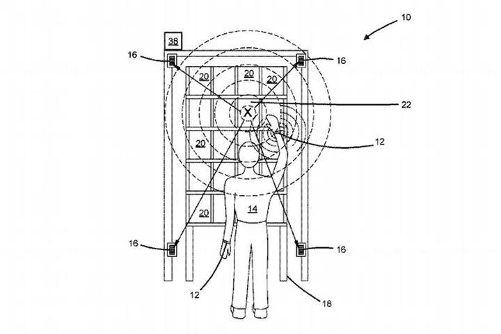 Schéma de l'utilisation du bracelet electronique développé par Amazon. (UNITED STATES PATENT AND TRADEMARK OFFICE)