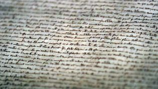 Un morceau de la Magna Carta, à Westminster Abbey à Londres, mai 2018  (Frank Augstein/AP/SIPA)