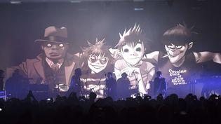 """Les Gorillaz sur scène en """"secret show"""" le 24 mars à Londres.  (Mark Allan/AP/SIPA)"""