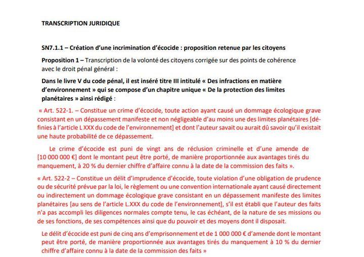 Capture d'écran de la transcription légistique de la proposition de création d'un crime d'écocide. (CONVENTION CITOYENNE CLIMAT)