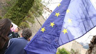 Vincent Peillon, ancien ministre et tête de liste du PS dans le Sud-Est pour les élections européenes, en visite à Gap (Hautes-Alpes) le 25 avril 2014. (MAXPPP  )
