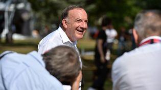 Pierre Gattaz, président du Medef, à l'occasion l'université d'été de l'organisation patronale, le 29 août 2017, àJouy-en-Josas (Yvelines). (ERIC PIERMONT / AFP)
