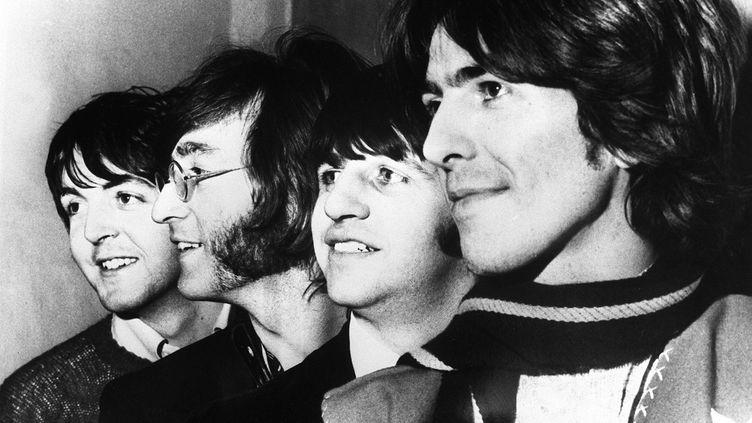 The Beatles à New York en 1968 avec, de gauche à droite : Paul McCartney, John Lennon, Ringo Starr et George Harrison. (UPI / AFP)