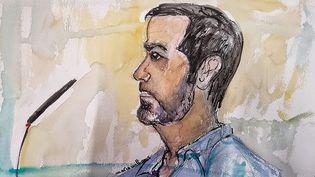 Un dessin de Nordahl Lelandaislors de son procès pour le meurtre du caporal Arthur Noyer, le 3 mai 2021 devant la cour d'assises de la Savoie à Chambéry. (MARIE WILLIAMS / AFP)