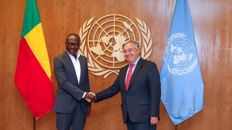 Le président béninois Patrice Talon rencontre le Secrétaire général de l'ONUAntonio Guterres, à New York, le 23 juin 2019. (VANESSA CARVALHO / BRAZIL PHOTO PRESS)