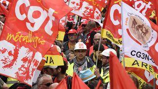 Des militants de la CGT manifestent contre la loi Travail, le 14 juin 2016, à Paris. (DOMINIQUE FAGET / AFP)