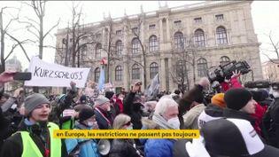 Des Autrichiens manifestent contre le confinement le 31 janvier (FRANCEINFO)