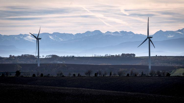 Des éoliennes, le 5 décembre 2018 à Nailloux (Haute-Garonne). (ERIC CABANIS / AFP)