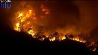 Capture d'écran d'images APTN montrant un feu de broussailles qui s'est déclaré près de Corona, dans le sud de la Californie (Etats-Unis), le 18 avril 2015. (APTN)