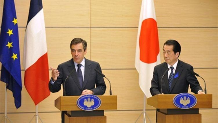 Le Premier ministre François Fillon et son homologue japonais Naoto Kan, lors d'un point presse, le 16 juillet 2010. (AFP - Kazuhiro NOGI)