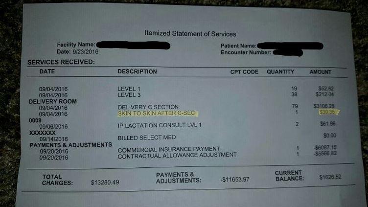 Un père américain a diffusé cette capture de la facture de la maternité sur le réseau social Reddit, mardi 4 octobre 2016. (REDDIT)