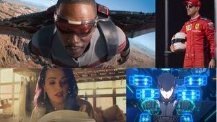 """De gauche à droite et de haut en bas, les séries """"Falcon le soldat de l'hiver"""", """"Formule 1 : pilotes de leur destin"""", """"Sky Rojo"""" et """"Pacific Rim : The Black"""". (FRANCEINFO)"""