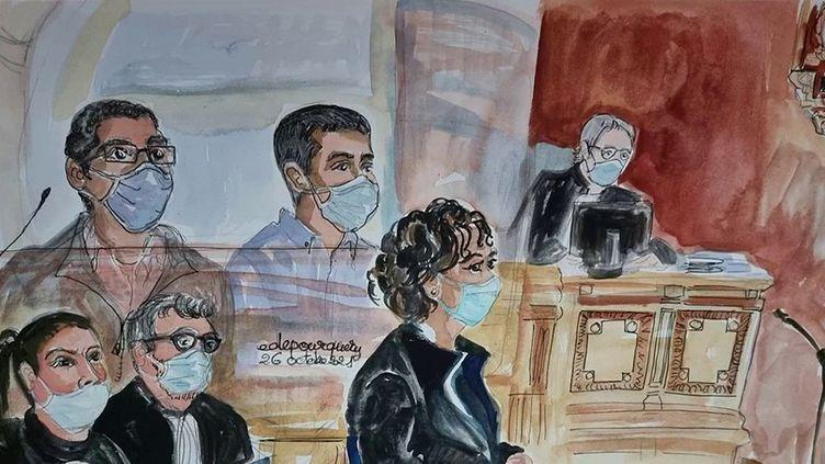 En France, les deux hommes soupçonnés du meurtre de Mireille Knoll continuent de s'accuser mutuellement. Le procès s'est ouvert mardi 26 octobre devant la cour d'assises de Paris.  (CAPTURE ECRAN / FRANCEINFO)