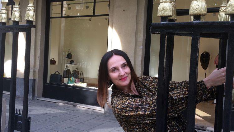 Marie-Chantal Doyonnard devant la Joyce Gallery, avril 2017  (Corinne Jeammet)
