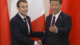 Emmanuel Macron, le président français, avec Xi Jinping, son homologue chinois, le 8 juillet 2017 au sommet du G20 à Hambourg(Allemagne). (IAN LANGSDON / AFP)