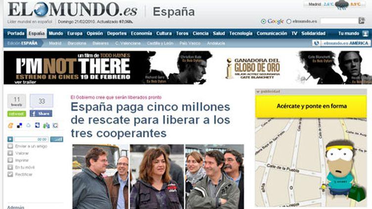 La Une de El Mundo du dimanche 21/02/10 (DR)