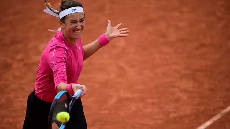 Victoria Azarenka, ici sur la terre battue parisienne, a été éliminée dès le 2e tour de Roland-Garros. (MARTIN BUREAU / AFP)