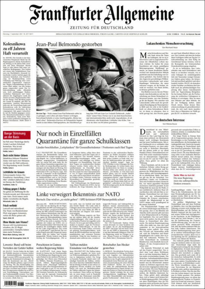 "La une du ""Franckfurter Allgemeine Zeitung"", le 7 septembre 2021. (FRANCKFURTER ALLGEMEINE ZEITUNG)"