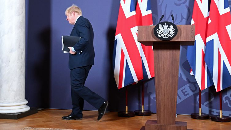 Le Premier ministre britannique après l'annonce de la signature d'un accord commercial avec l'Union européenne, jeudi 24 décembre 2020. (PAUL GROVER / POOL)