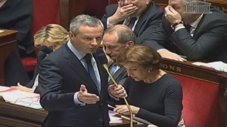Bruno Le Maire, ministre de l'Agriculture, lors de la séance de questions au gouvernement, le 21 février 2012. (FTVI / FRANCE 3)