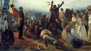 27 avril 1848, abolition de l'esclavage dans les colonies françaises. (Peinture de François Auguste Biard - photo Josse/Leemage)