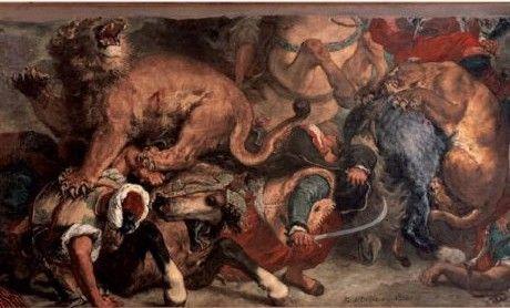 «€La Chasse aux lions€» de Delacroix, vers 1854, huile sur toile, €86€×€115€cm  (PHOTO MUSÉE DES BEAUX-ARTS, MAIRIE DE BORDEAUX/L.GAUTHIER)