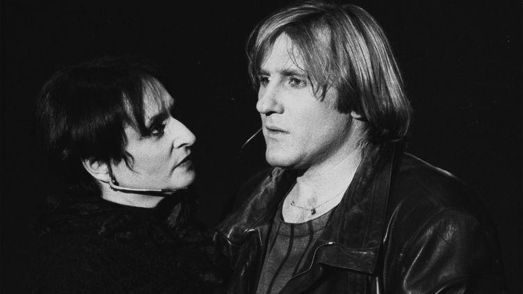 Barbara et Gérard Depardieu au cours d'une représentation de Lily Passion, à Tours en avril 1986. (MAXPPP)