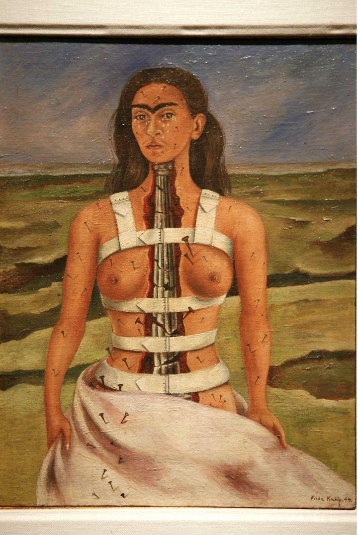 La colonne brisée, Oil on Masonite. 38.6 x 31 cm Dolores Olmedo Foundation, Mexico City (100th anniversary of Frida Kahlo's Birth)  (DESRUS BENEDICTE/SIPA)