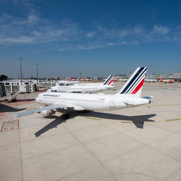 Un avion Air France sur le tarmac de l'aéroport de Roissy-Charles-de-Gaulle, le 28 avril 2021. (SANDRINE MARTY / HANS LUCAS / AFP)