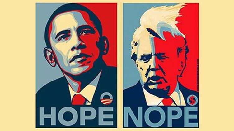 Montage à partir de l'affiche d'Obama «Hope» et détournée en «Nope» («Nan») pour Trump. (Montage à partir de l'affiche d'Obama «Hope» réalisée par Shepard Fairey)