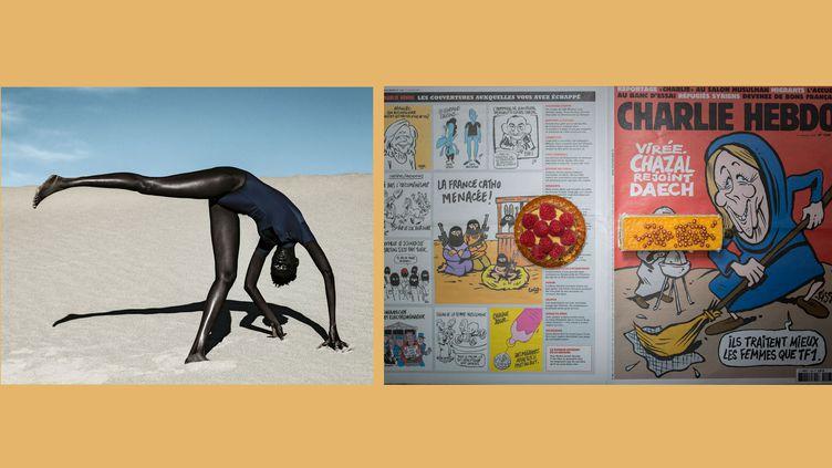 A gauche, Dana Scruggs, Nyadhour, Elevated, Death Valley, California, 2019- A droite, Chow & Lin. France, Paris, septembre2015. 5,99EUR (6,73USD) pour l'alimentation. (A gauche, avec l'aimable autorisation de School Gallery / Olivier Castaing - A droite © Chow & Lin / Rencontres d'Arles)