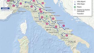 Le parcours du Tour d'Italie 2021. (Laurence SAUBADU, Jean-Michel CORNU, Cléa PÉCULIER / AFP)