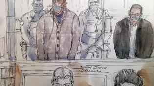 Un dessin du procès deSid-Ahmed Ghlamle 5 octobre 2021 à Paris. (BENOIT PEYRUCQ / AFP)