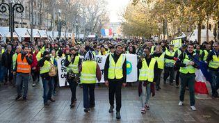 """Des """"gilets jaunes"""" défilent sur le cours Mirabeau d'Aix-en-Provence (Bouches-du-Rhône), samedi 22 décembre 2018. (CLEMENT MAHOUDEAU / AFP)"""