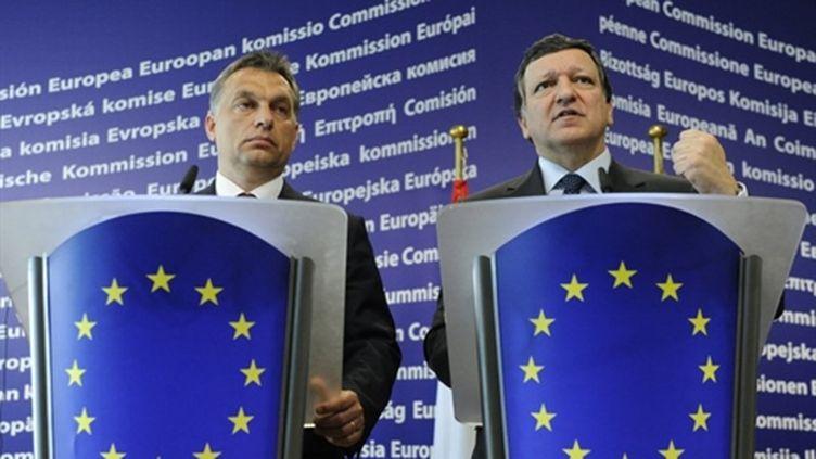 Viktor Orban, chef du Fidesz (g), à Bruxelles  le 3/6/2010 (AFP/john Thys)