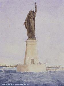 Aquarelle du projet de phare de Suez par Auguste Bartholdi en 1869  (Musée Bartholdi Colmar )