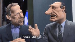 """Les marionnettes de PPDA et Jacques Chirac lors de la dernière émission des """"Guignols de l'info"""", diffusée le 22 juin 2018 sur Canal+. (LES GUIGNOLS / CANAL+)"""