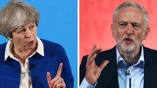 La Première ministre britannique, Theresa May, et son rival travailliste, Jeremy Corbyn. (AFP)