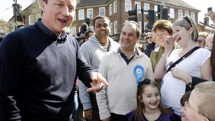Le conservateur David Cameron en campagne le 10 avril 2010 (AFP - POOL - Kirsty Wigglesworth)