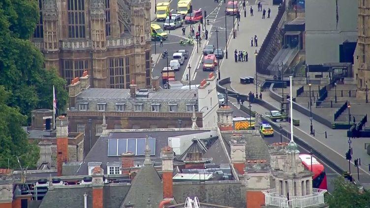 Une voiture fonce sur les grilles du Parlement britannique à Londres, le 14 août 2018. (REUTERS)