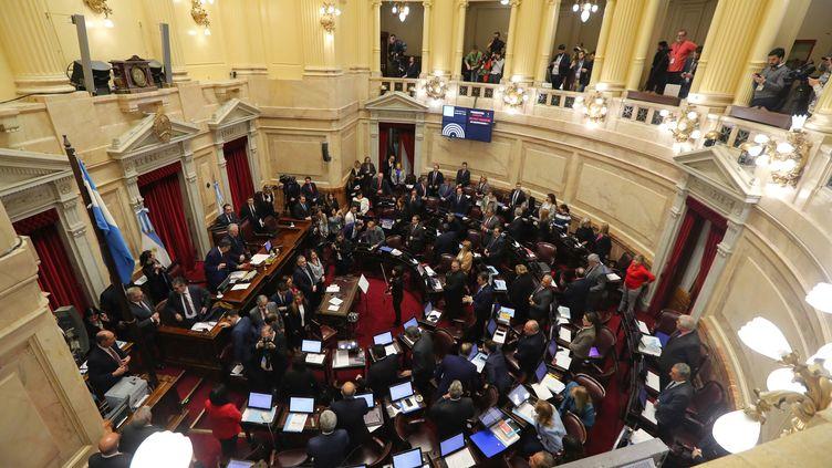 Les sénateurs argentins débattent du projet de loi ouvrant le droit à l'avortement, à Buenos Aires (Argentine), le 8 août 2018. (MARCOS BRINDICCI / REUTERS)
